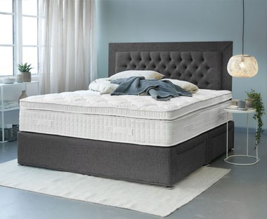 Luxury mattress with box top and foam encapsulated springs pressure-relieving memory foam