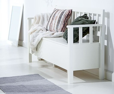 White wooden bench for storage