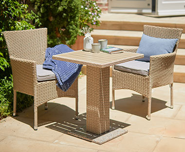 natural rattan square bistro table with natural rattan garden chairs