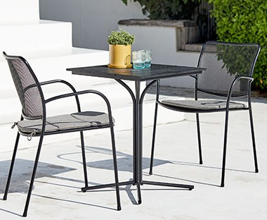 Artwood and aluminium square garden bistro table in black with two metal garden chairs