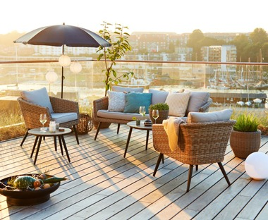 nature coloured rattan garden lounge set, two chairs, sofa and side tables