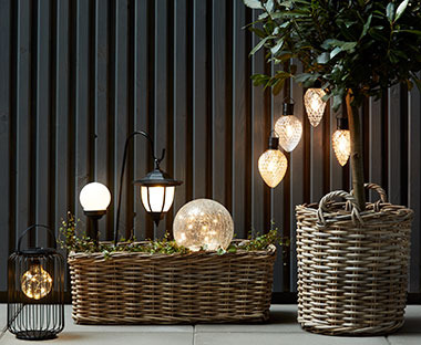 A variety of solar lights ranging from hanging, freestanding, spike and lantern style solar lights