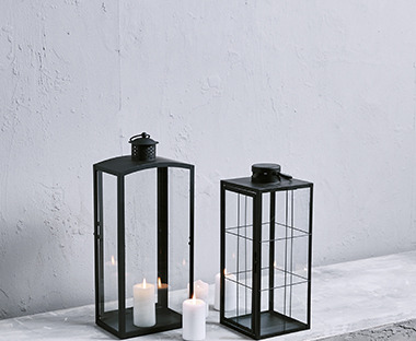 Black lantern with glass panes