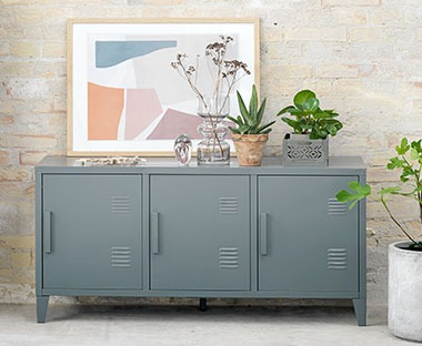 An industrial design tv stand metal cabinet with cupboards