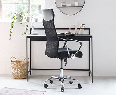 Mesh seat and back, faux leather headrest and chrome finish base office chair