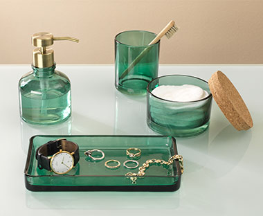 Luxury green glass bathroom accessories
