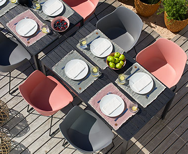 colourful garden dining chairs and table set for outdoor dining
