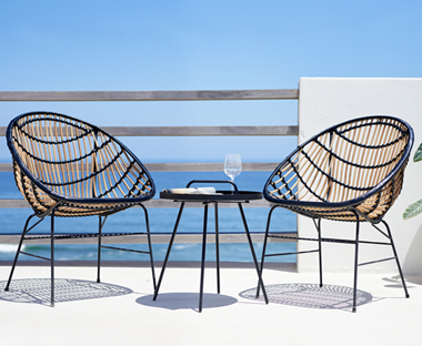 two garden lounge chairs bamboo and steel frame with bistro table