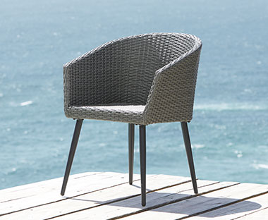 handwoven garden dining chair in grey