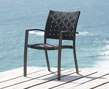 handwoven garden dining chair in black