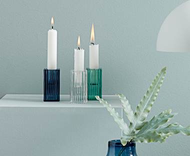 blue and green coloured glass candlestick