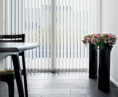 Patio door white vertical blinds