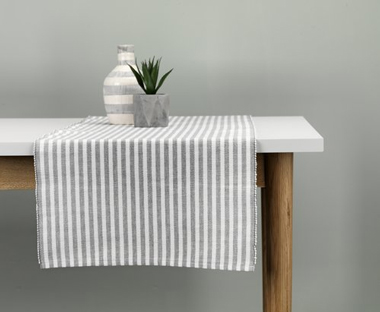 Grey patterned table runner