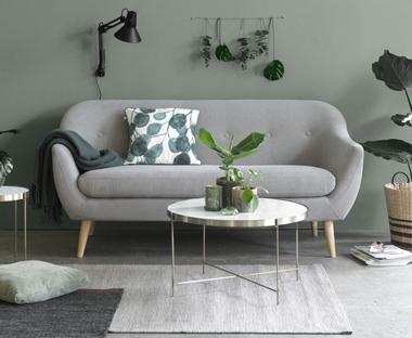 grey structured sofa