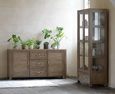 Dark Oak Sideboard And Cabinet From JYSK