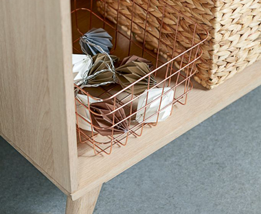 Wooden bookcase with storage basket for great storage solutions