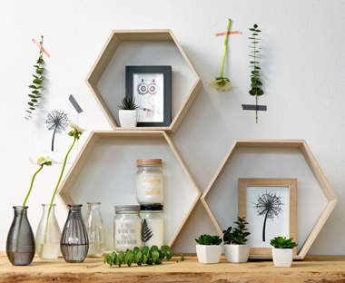 hexagon shelves and home accessories