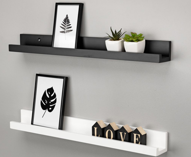 black and white floating shelves
