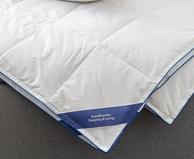 a feather duvet in various sizes