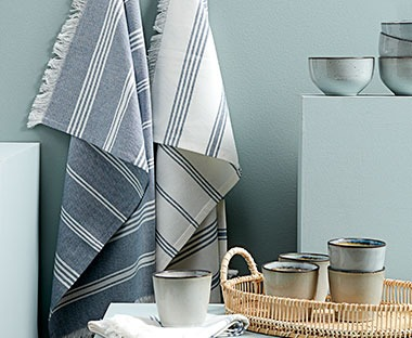 Blue and white striped tea towels