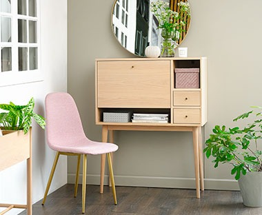 Wooden console table with shelves, cupboards and drawers