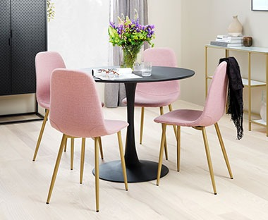 pink upholstered dining with rose gold chair legs