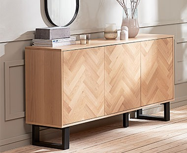 Parquet design sideboard with seemless push to open cupboards