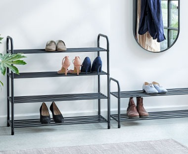 simple metal frame shoe racks in grey four and two shelves