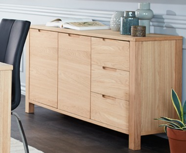 oak sideboard with cupboards and drawers