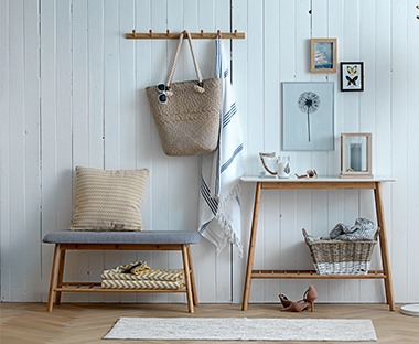 Scandinavian design wooden console table with low shelf