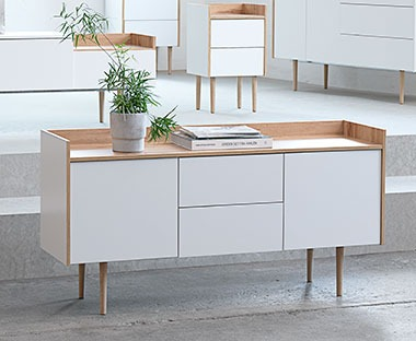 white modern Scandinavian design sideboard with push open cupboards