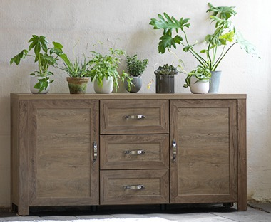 dark oak sideboard with cupboards and drawers
