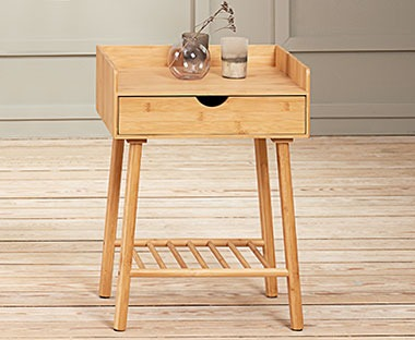 Bamboo bedside table with drawer and low magazine book shelf