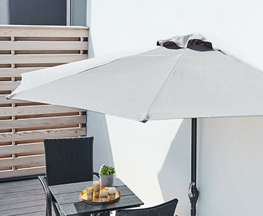 balcony parasol with one flat side in grey