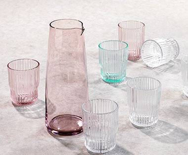 colour glassware and jugs from JYSK