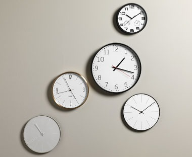 Wall clocks in various colours