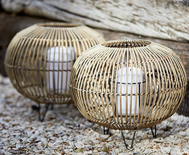 garden lantern with candle in wicker effect material