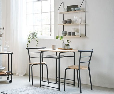 Bistro dining set wooden and metal