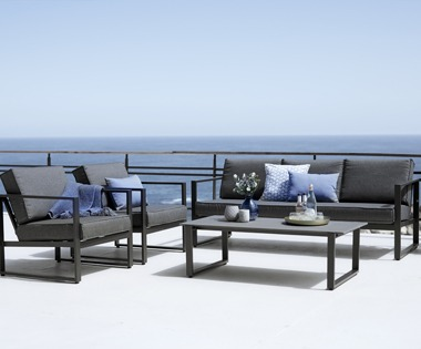 Black garden lounge set sofa and chairs with table
