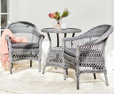 rattan garden chairs and table