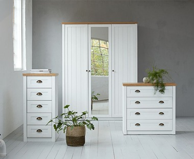 White chest of drawers with oak top