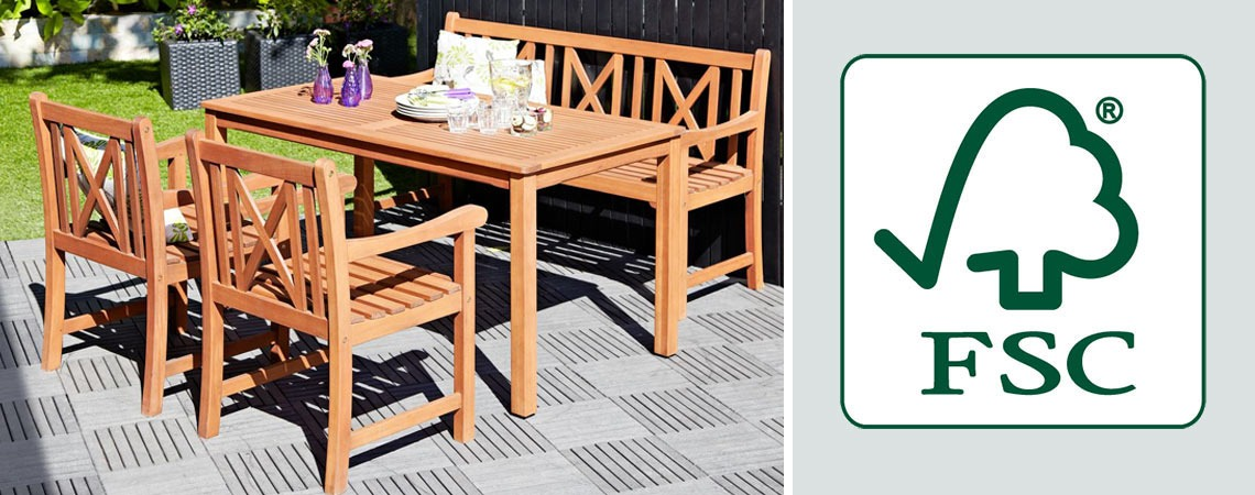 wooden garden furniture table, chairs and bench with FSC logo