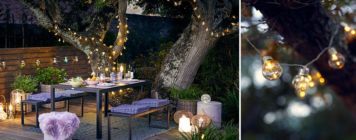 Cosy garden setting with decorative lighting