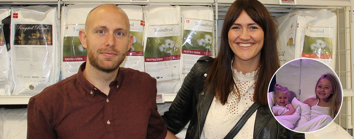 Louise and Karsten Lykke at a JYSK store with insert of their kids
