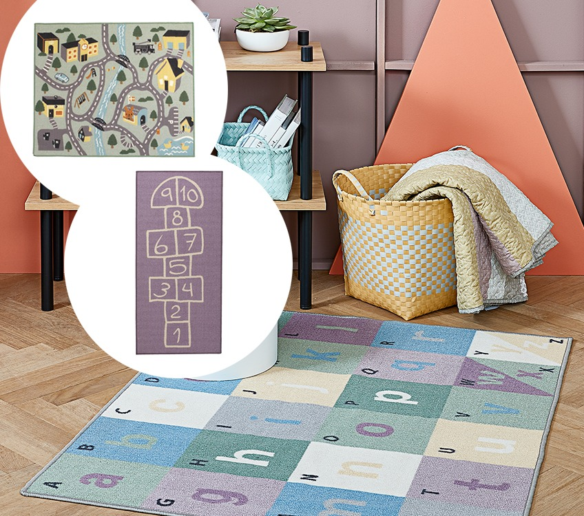 Rugs for children's rooms with traffic, hopscotch and alphabet