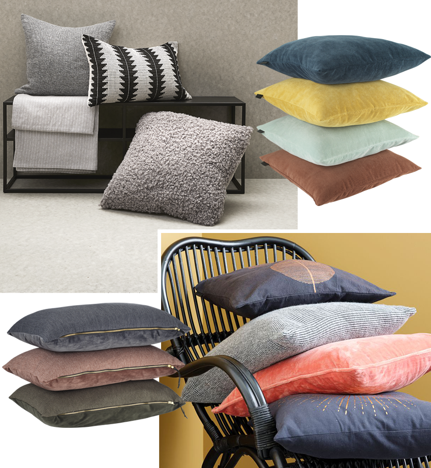 A variety of cushions in grey and bright colours. Cushions in a pile on chair