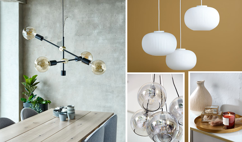ceiling pendant lighting in black, gold and white