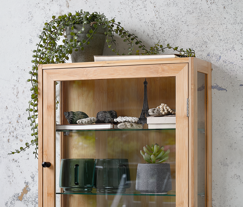 Wall cabinet with faux plants