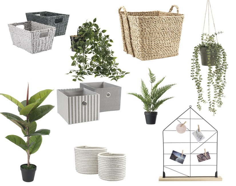 Assorted storage baskets and artificial plants