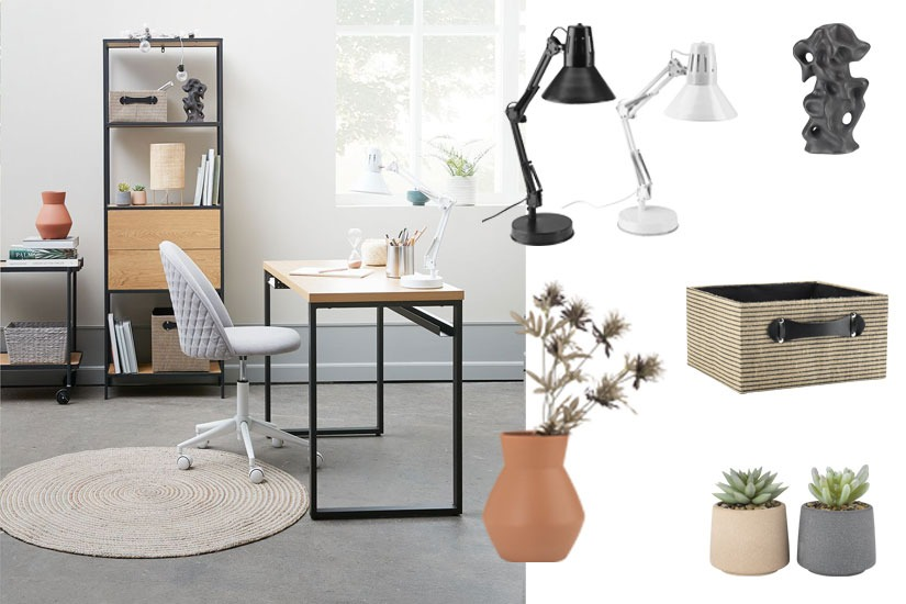 Home office decorative and essential items including desk lamps, vases and artificial plants